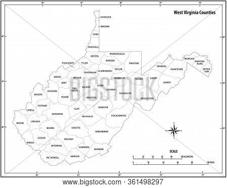 West Virginia State Outline Map In Black And White