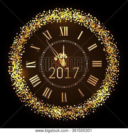 Vector 2017 Shiny Merry Christmas And Happy New Year 2017 Gold Clock With Glitter Frame. Vintage Ele