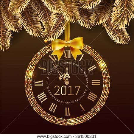 Gold Glitter Disco Vector 2017 Happy New Year Background With Gold Clock And Christmas Tree Border .