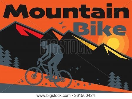 Downhill, Mountain Biking Landscape With Rider Silhouette. Downhill, Enduro, Cross-country Biking, V