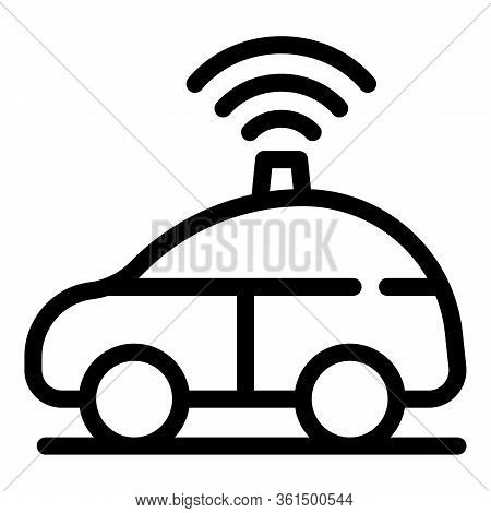 Driverless Car On Road Icon. Outline Driverless Car On Road Vector Icon For Web Design Isolated On W