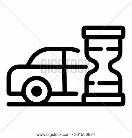 Hourglass Waiting Time Taxi Icon. Outline Hourglass Waiting Time Taxi Vector Icon For Web Design Iso