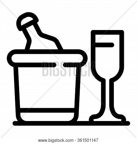 Ice Bucket And Glass Icon. Outline Ice Bucket And Glass Vector Icon For Web Design Isolated On White