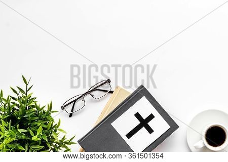 Holy Bible Book With Catholic Cross - Catholicism Religion Concept - On White Background Top View. C