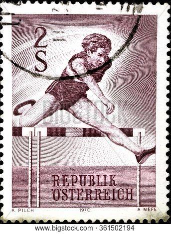 02.09.2020 Divnoe Stavropol Territory Russia Postage Stamp Austria 1970 Sports Hurdler Runner Jumps