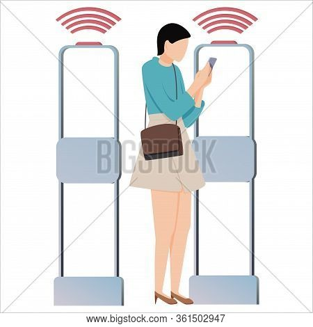 Vector Illustration, Woman Goes Through Anti-theft Sensor Gates. Security System Detect Barcode And