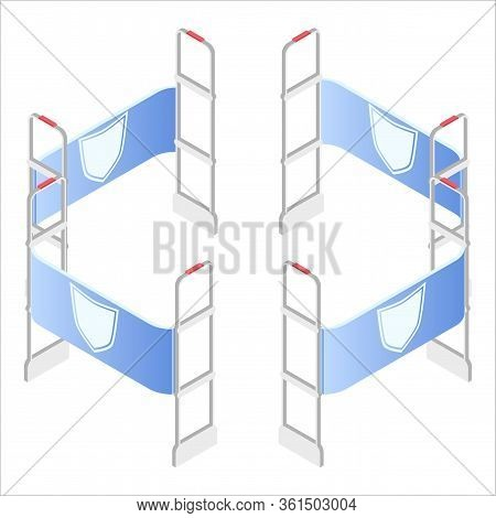 Isometric Vector Illustration, 3d. Preventing Shoplifting Scanner Gate System. Security System Detec