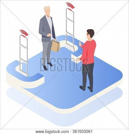 Isometric, Vector Illustration, Man Goes Through Anti-theft Sensor Gates. Security System Detect Bar