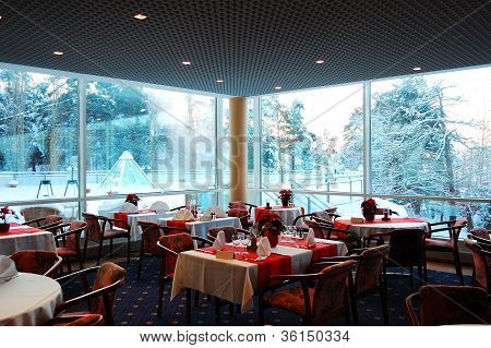 Interior of a restaurant with winter landscape