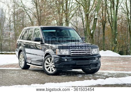 Grodno, Belarus, December 2012: Land Rover Range Rover Sport V8 Supercharged. Three Fourth View Of B