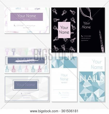 Manicure Salon Business Card Design Templates Set. A Set Of Business Cards For Nail Salons And Beaut