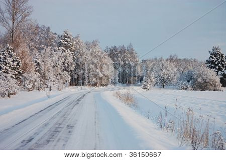 Ice-glazed road in winter