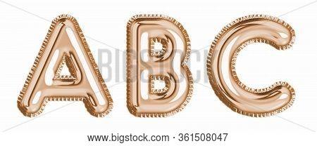 Gold Foil Balloon Alphabet Set Letter A, B, C Realistic 3D Illustration Metallic Pink Gold Air Ballo