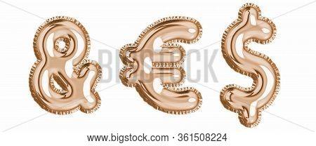 Gold Foil Balloon Alphabet Set Isoalted Ampersand, Euro, Dollar Sign. Realistic 3d Illustration Meta