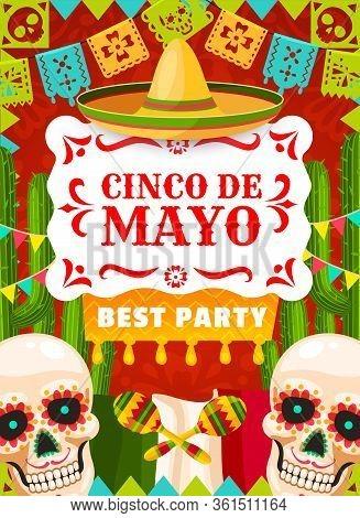Cinco De Mayo Mexican Holiday Party Vector Poster, Mexico Fiesta. Sombrero Hat, Maracas And Cactus,