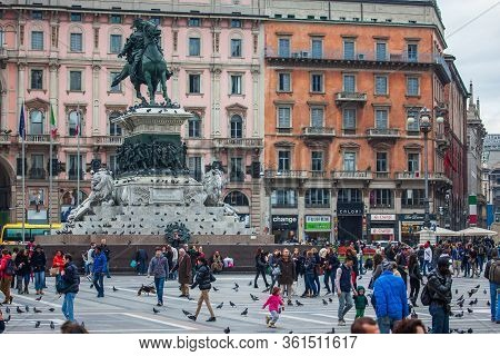 Milan, Italy - November 3, 2012:crowds Of People Gathers At Piazza Del Duomo In Milan, Besides Monum