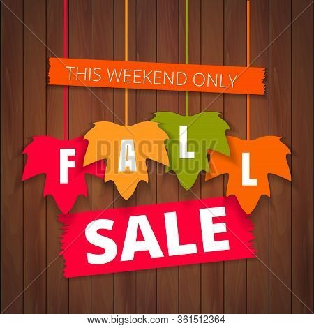 Autumn Sale Poster Of Discount Promo Web Banner For Fall Seasonal Shopping With Hanging Maple Leaf.