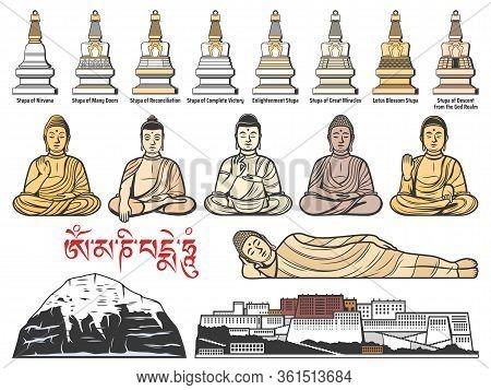 Tibet Buddhism Religion, Tibetan Buddhist Stupa Shrines, Buddha Meditatin Postures. Potala Palace In