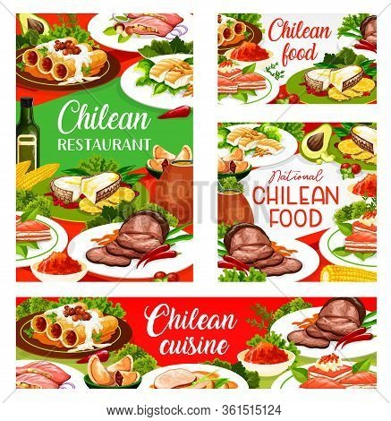 Chilean Cuisine Restaurant Vector Menu Covers. Chili Traditional Lunch Dishes, Cannelloni Pasta With