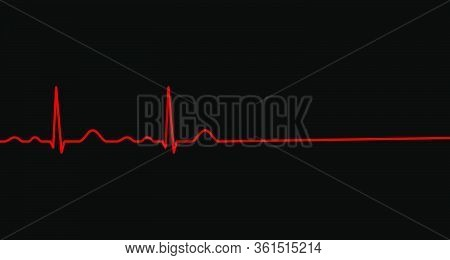 Ekg Line. Heartbeat. Heart Stops Beating. Death. Electrocardiography. Vector Illustration.