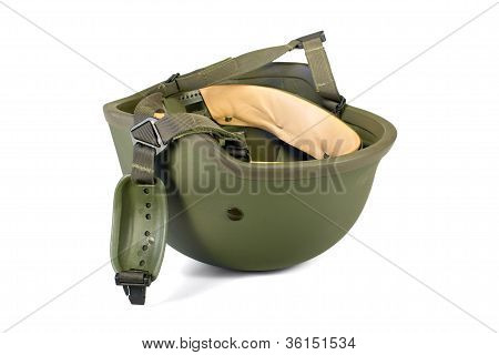 Military combat kevlar helmet isolated. Clipping path.