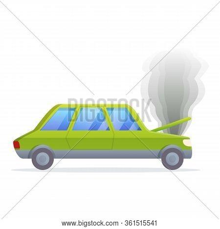 Broken Car Motor Icon. Cartoon Of Broken Car Motor Vector Icon For Web Design Isolated On White Back