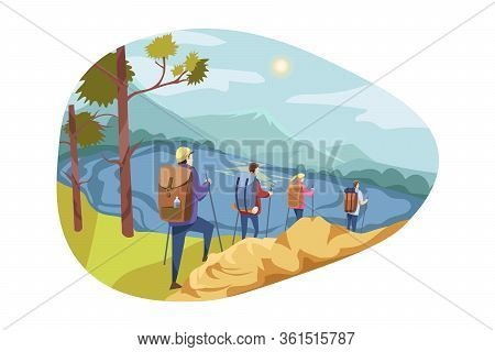 Travelling Team, Tourism, Nature, Hiking Concept. Team, Group Of Travellers, Men Woman Hikers Going