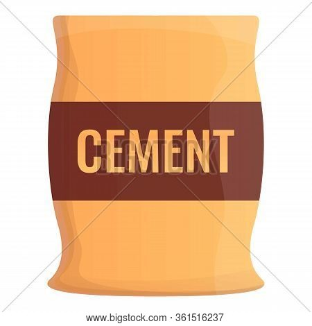 Cement Sack Icon. Cartoon Of Cement Sack Vector Icon For Web Design Isolated On White Background