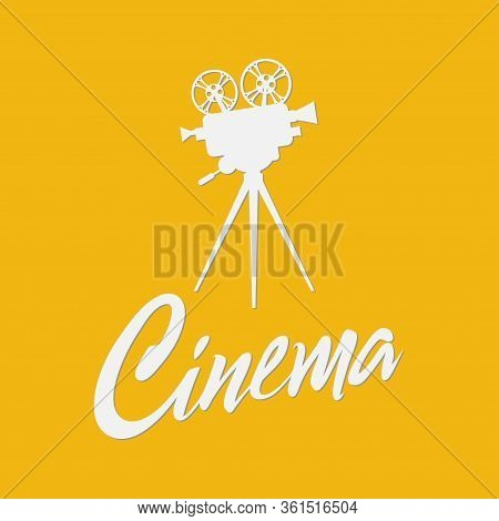 Vintage Cinema Projector On A Tripod Isolated On Yellow Background. Cinema Festival Poster Template,