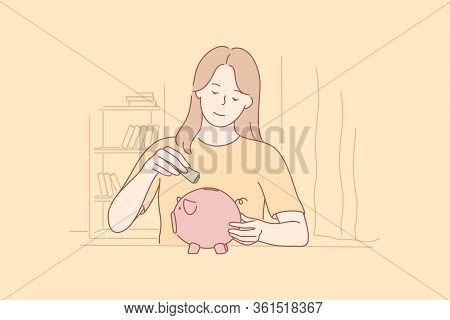 Money, Savings, Investment, Capital Concept. Young Happy Student Woman Teenager Girl Puts Cash Dolla
