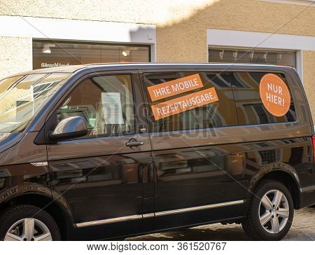 Altötting,germany-april 15,2020:  View Of A Minibus Used By A Doctors Office For Patients To Pick Up