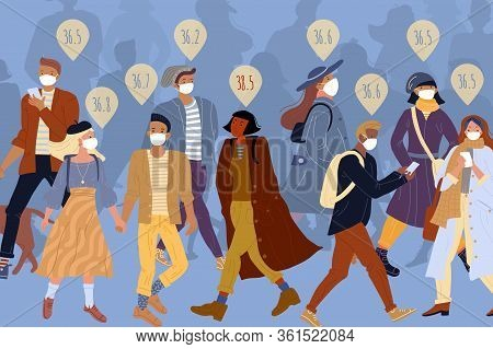 Healthy People Crowd In Protective Medical Face Mask Walking On Street. Sick Woman Without Respirato