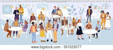 Young Men, Women, Students, Romantic Couples, Business People Spending Time In Cafe, Dining Area, Fo