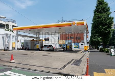 Tokyo, Japan - May 26, 2019. Shell logo on a gas station. Shell is a British-Dutch oil and gas company headquartered in the Netherlands and incorporated in the United Kingdom.
