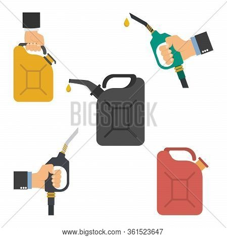 Refueling A Car, Hand Holds The Fuel Pump, Gas Canister.