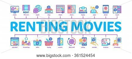Renting Movies Service Minimal Infographic Web Banner Vector. Renting Movies Store, Internet Online