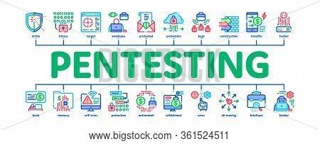 Pentesting Software Minimal Infographic Web Banner Vector. Pentesting Programming Code, Cybersecurit