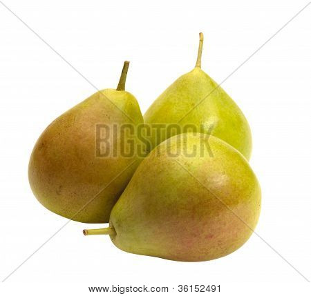 Three Pears On A White