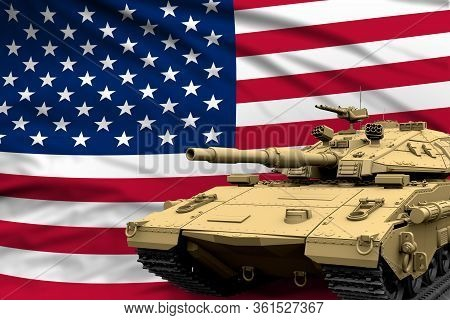 Heavy Tank With Fictional Design On Usa Flag Background - Modern Tank Army Forces Concept, Military