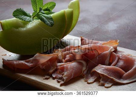 Italian Or Spanish Prosciutto Crudo Or Jamon  . Raw Ham.