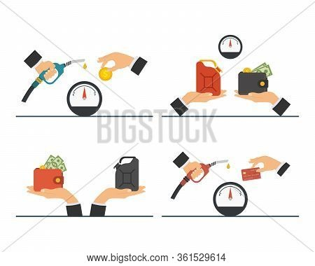 Payment For Fuel, Fuel Pump In Hand Man. Vector Illustration.