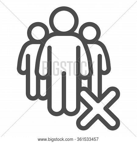 Gatherings Ban Line Icon. Avoid Crowds Outline Style Pictogram On White Background. Social Distancin
