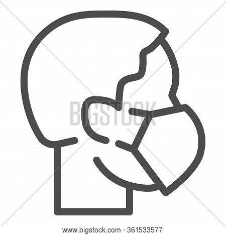 Person Head With Respirator Or Mask Line Icon. Masked Person Outline Style Pictogram On White Backgr
