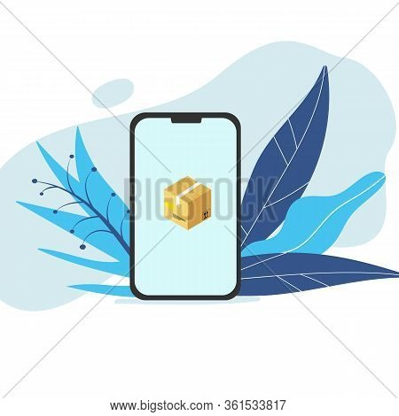 Smartphone Screen With Isometric Brown Cardboard Box With White Scotch Tape Address Label Shipment S