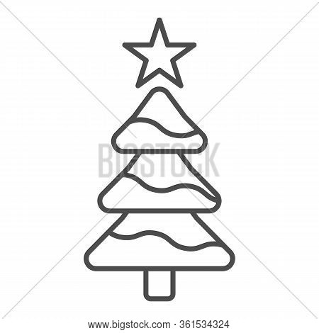 Tree With A Star Thin Line Icon. Decorated Conifer Firtree Outline Style Pictogram On White Backgrou