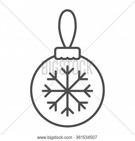 Glass Tree Toy With Snowflake Thin Line Icon. Christmas Ball With Snowflake Outline Style Pictogram