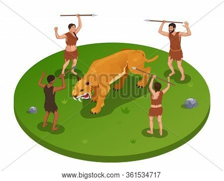 Caveman Prehistoric Primitive People Round Isometric Composition With Group Of Ancient Characters Du