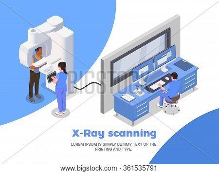 Stomatology Clinic Isometric Poster With Xray Scanning Symbols Vector Illustration