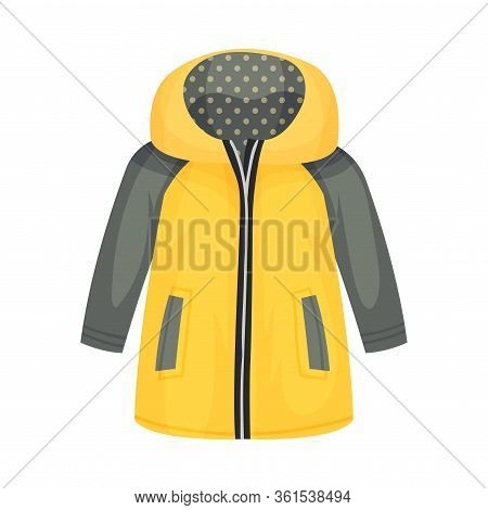 Yellow Zippered Anorak With Hood And Side Pockets As Womenswear Vector Illustration