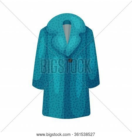 Blue Coat With Collar And Long Sleeves As Womenswear Vector Illustration